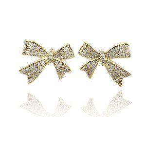 Gold cute crystal bow earrings